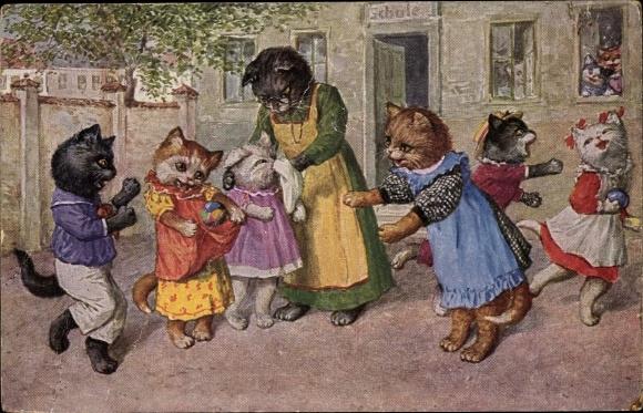 Künstler Ak Thiele, Arthur, Schulpause, Katzenschule