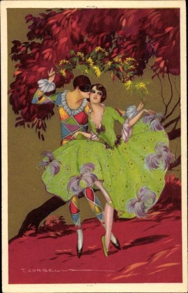 Künstler Ak Corbella, T., Tanzendes Paar, Ballerina