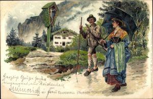 Künstler Litho Bergen, Fritz, Bad Reichenhall in Oberbayern, Nonner Tracht