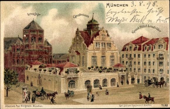 Litho München Bayern, Synagoge, Synagoge, Künstlerhaus, Grand Hotel Leinfelder
