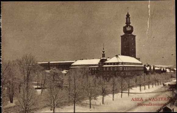 Ak Västerås Schweden, Huvudkontoret, Schneelandschaft