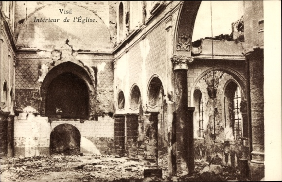 Ak Visé Wallonien Lüttich, Intérieur de l'Église, Kriegszerstörungen, I. WK