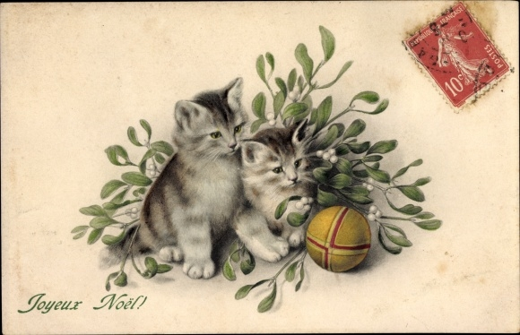 Künstler Ak Frohe Weihnachten, Joyeux Noel, Katzen mit Mistelzweig und Ball, Munk Nr. 555