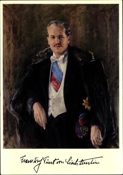 Künstler Ak Poebing Mylot, Franz Josef II. Fürst von Liechtenstein, Portrait