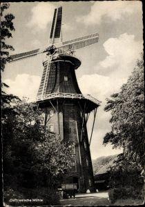 Ak Ostfriesische Mühle, Windmühle, Fuhrwerk