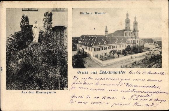 Ak Ebersmunster Ebersmünster Elsass Bas Rhin, Kirche, Kloster, Garten 0