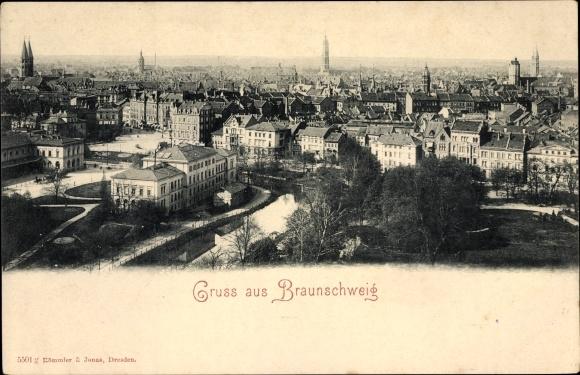 Ak Braunschweig in Niedersachsen, Panoramablick auf die Stadt 0