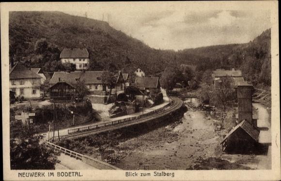 Ak Neuwerk Rübeland Oberharz am Brocken, Stalberg, Flusspartie, Brücke 0