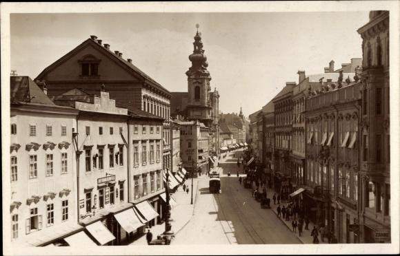 Ak Linz in Oberösterreich, Taubenmarkt gegen Landstraße, Janus 0