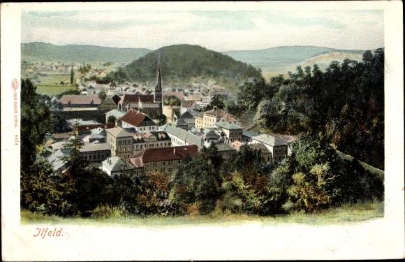 Ak Ilfeld Harztor in Thüringen, Kirche, Panorama vom Ort 0