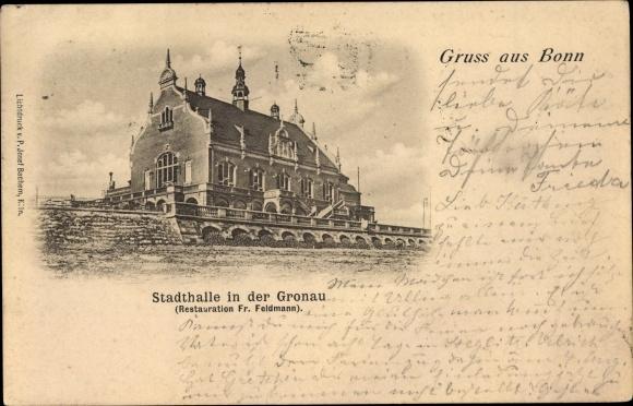 Ak Bonn in Nordrhein Westfalen, Stadthalle in der Gronau, Restauration Fr. Feldmann  0