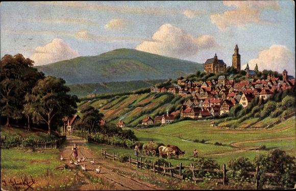 Künstler Ak Glückert, J., Kronberg im Taunus Hessen, Krontaler Weg, Ortschaft mit Landschaftsblick 0