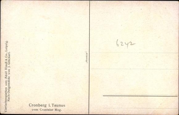 Künstler Ak Glückert, J., Kronberg im Taunus Hessen, Krontaler Weg, Ortschaft mit Landschaftsblick 1