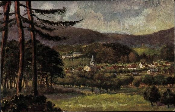 Künstler Ak Seeheim Jugenheim Hessen, Kirche, Ortschaft mit Landschaftsblick