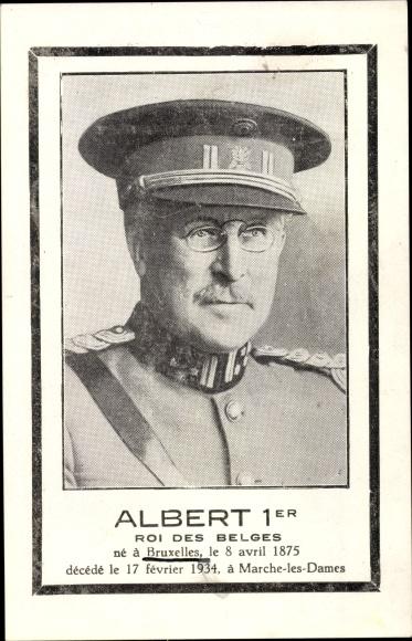 Ak König Albert I. von Belgien, Portrait, Trauerkarte 0