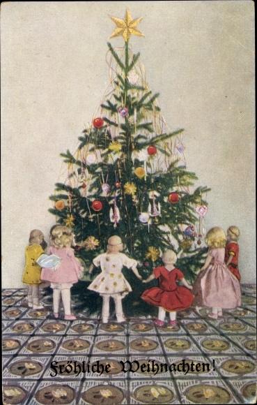 Ak Frohe Weihnachten, Weihnachtsbaum, Kinder, Stern