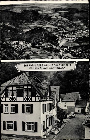 Ak Scheuern Nassau im Rhein Lahn Kreis, Pension Café, Inh. Marie Hermann, Ortspanorama 0