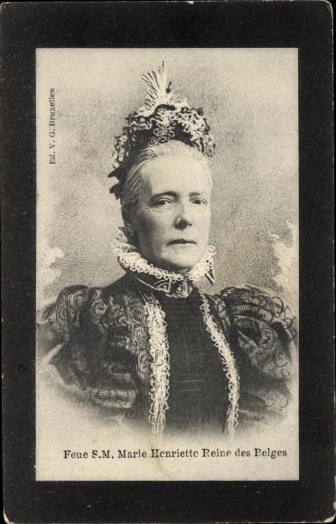 Ak Marie Henriette von Österreich, Königin von Belgien, Trauerkarte 0