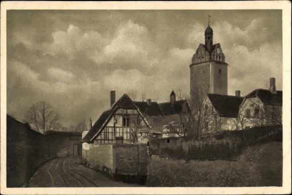 Ak Delitzsch in Sachsen, Stadtmauer am Halleschen Turm 0
