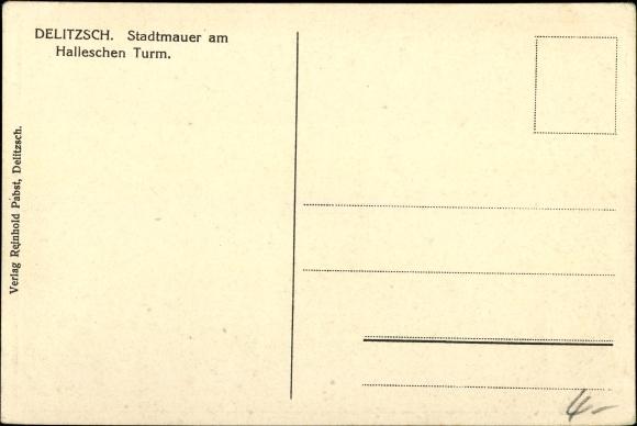 Ak Delitzsch in Sachsen, Stadtmauer am Halleschen Turm 1