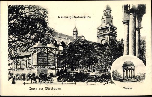 Ak Wiesbaden in Hessen, Neroberg Restauration, Tempel 0