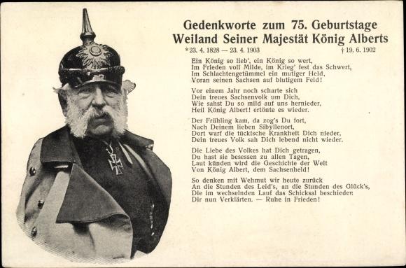 Ak König Albert von Sachsen, Gedenkworte zum 75. Geburtstag 0