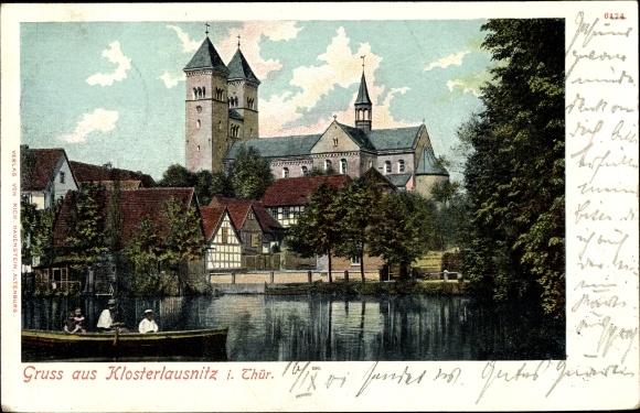 Ak Bad Klosterlausnitz in Thüringen, Wasserpartie, Kirche 0