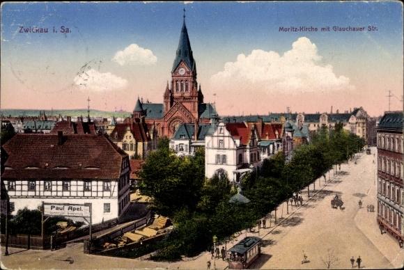 Ak Zwickau in Sachsen, Moritzkirche mit Glauchauer Straße 0