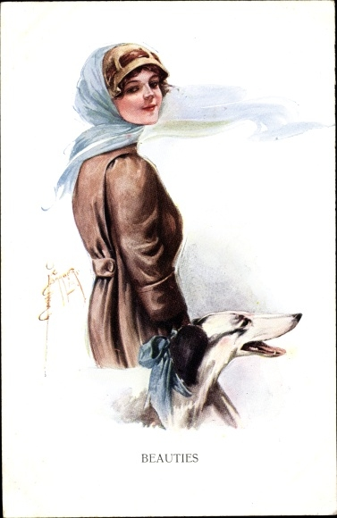 Künstler Ak Barber, Court, Beauties, Junge Frau, Windhund 0