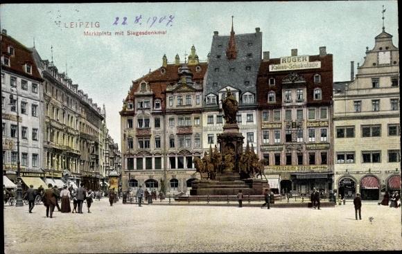 Ak Leipzig in Sachsen, Marktplatz mit Siegesdenkmal, Kakau-Schokolade Rüger, Zahntechniker R. Gerth 0