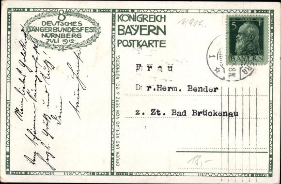 Ak Nürnberg in Mittelfranken Bayern, 8. Deutsches Sängerbundesfest, 27. - 31.7.1912 1