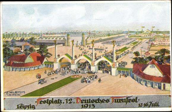 Künstler Ak Klemm, J., Leipzig, Festplatz 12. Deutsches Turnfest 12-16. Juli 1913 0