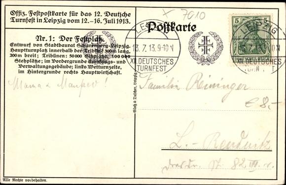 Künstler Ak Klemm, J., Leipzig, Festplatz 12. Deutsches Turnfest 12-16. Juli 1913 1