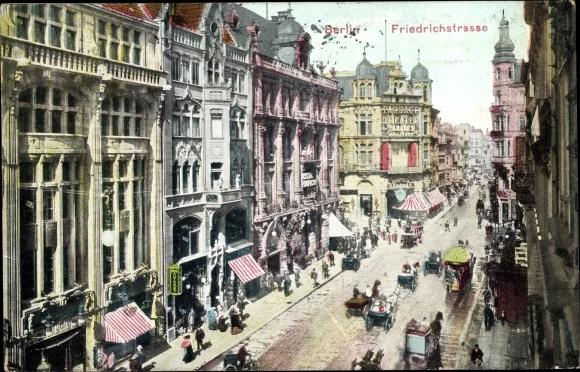 Ak Berlin Mitte, Partie an der Friedrichstraße, Pferdekutschen, Häuser, Fußgänger 0
