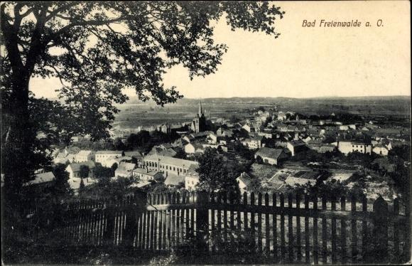 Ak Bad Freienwalde an der Oder, Teilansicht vom Ort mit Kirche, Zaun 0