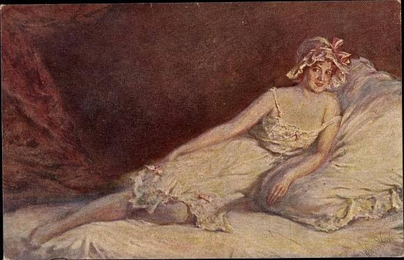 Künstler Ak Winck, W., Die Haube, Frauenportrait, Dekolleté 0