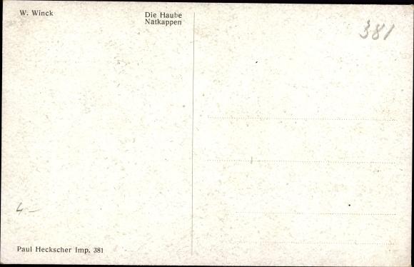 Künstler Ak Winck, W., Die Haube, Frauenportrait, Dekolleté 1