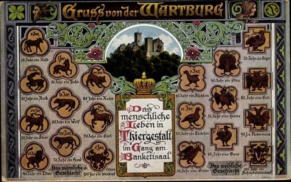 Ak Lutherstadt Eisenach in Thüringen, Wartburg, Das menschliche Leben in Tiergestalt, Pfau, Esel 0