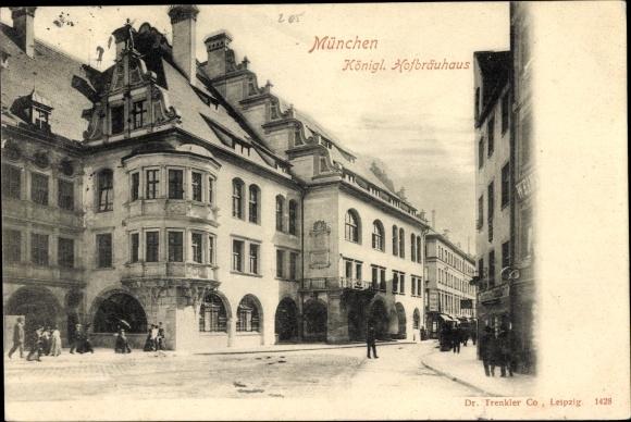 Ak München Bayern, Königliches Hofbräuhaus, Geschäfte, Wohnhäuser, Passanten 0