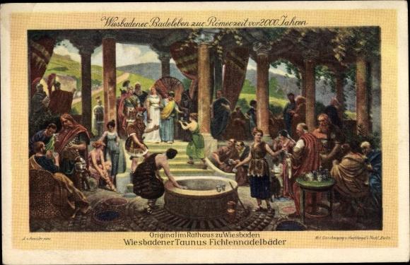 Künstler Ak Roessler, A., Wiesbaden in Hessen, Badeleben zur Römerzeit 0