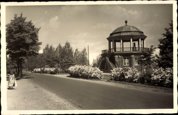 Ak Scharbeutz in Ostholstein, Straßenpartie, Pavillon  0