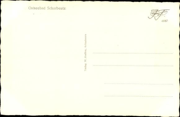 Ak Scharbeutz in Ostholstein, Straßenpartie, Pavillon  1