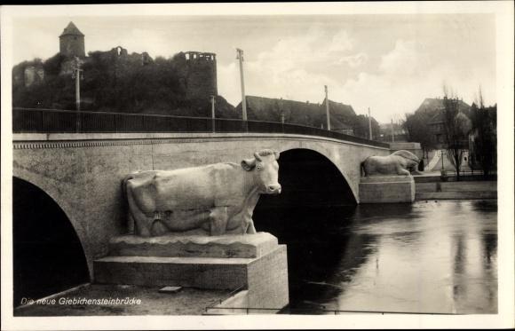 Ak Halle an der Saale, Giebichensteinbrücke, Kröllwitzer Brücke 0