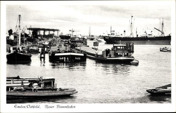Ak Emden in Ostfriesland, Neuer Binnenhafen, Lastkähne 0