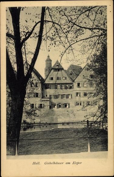 Ak Schwäbisch Hall in Baden Württemberg, Giebelhäuser am Koper 0