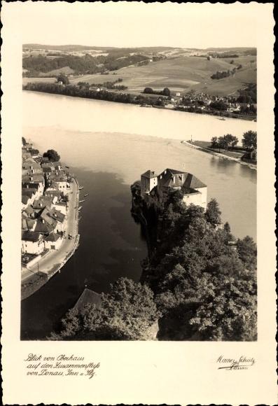Ak Passau in Niederbayern, Blick vom Oberhaus, Zusammenfluss der Flüsse Donau, Inn und Ilz 0