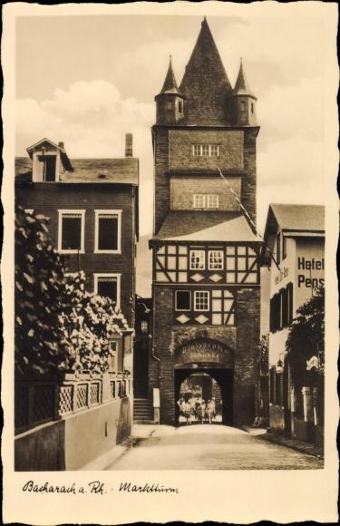 Ak Bacharach am Rhein, Marktturm, Hotel zur Rose, Schänke 0