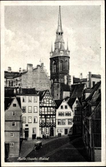 Ak Halle an der Saale, Trödel, Kirchturm, Fachwerkhaus 0