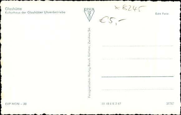 Ak Glashütte in Sachsen, Kulturhaus der Uhrenbetriebe, Denkmal 1