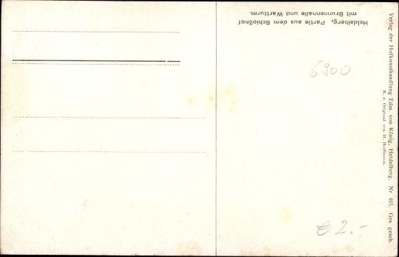 Künstler Ak Hoffmann, H., Heidelberg am Neckar, Schlosshof, Brunnenhalle, Wartturm 1